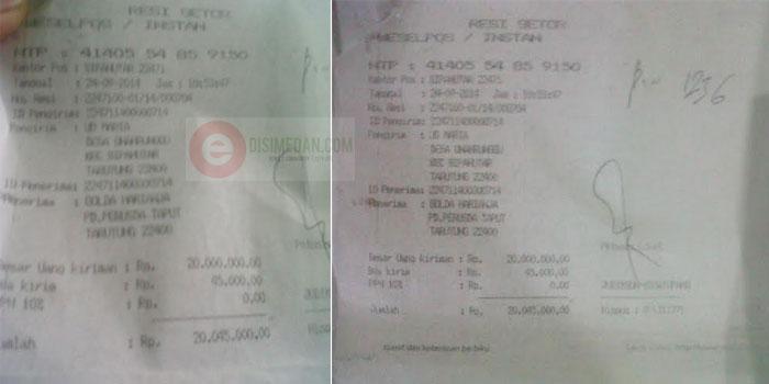 Salah satu bukti penyetoran kios pengecer melalui pengiriman Kantor Pos ke rekening staf atas nama Golda Harianja.