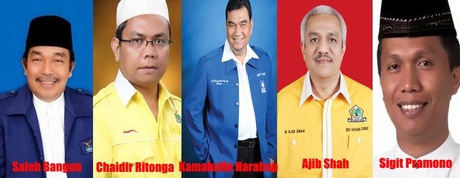 Lima Pimpinan DPRD Sumut periode 2009-2014 dan 2014-2019, ditetapkan KPK sebagai tersangka dalam kasus penerima suap APBD dan hak Interpelasi.