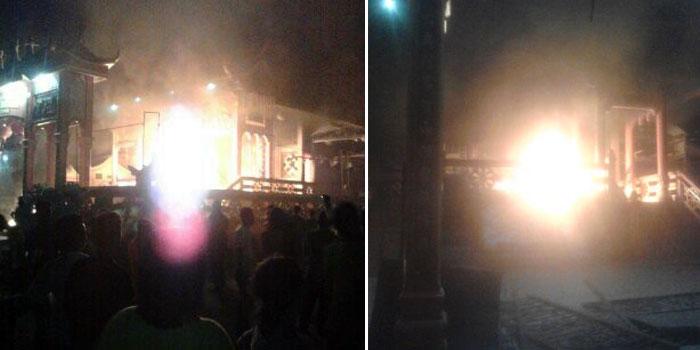 Sejumlah Vihara di Kota Tanjungbalai menjadi korban amuk warga dan dibakar warga. [Foto: RRI Tanjungbalai]