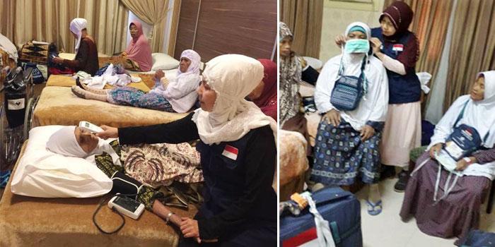 Mengajarkan kepada jamaah yang lansia cara menggunakan masker yang benar dan mengecek kesehatan jemaah berusia lanjut.