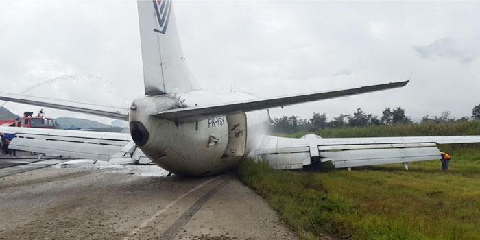 Pesawat cargo Trigana Air, dari Jayapura tergelincir saat mendarat di Bandara Wamena, Selasa (13/9/2016) pagi ini pukul 07.40 WIT.